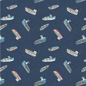 A178.3 - Fishing Boats On Navy Blue