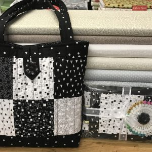 Patchwork Quilted Tote Bag Kit Monochrome Black and White