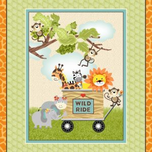 Jungle animals in cart 36 Inch Panel 1236P-64