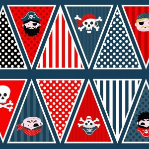 Makower Pirates 1677 Bunting Panel