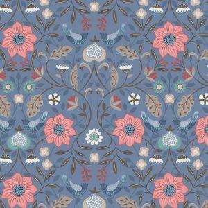 Little Bird Floral on Blue A398.3