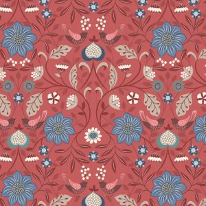 Little Bird Floral on Soft Red A398.2