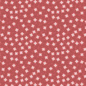 Small Floral on Soft Red A399.2
