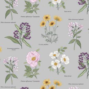 Botanic flowers on light grey A453.2