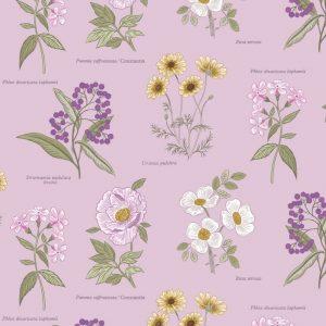Botanic flowers on lilac A453.3