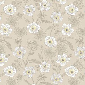 Rambling floral on dark cream A455.1