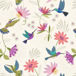 Lewis Irene Hummingbird Hummingbirds on cream A429.1