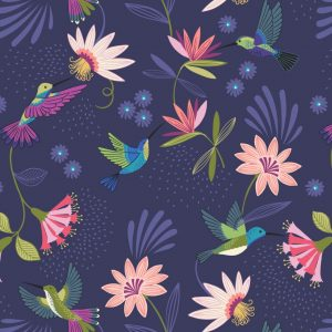 Lewis Irene Hummingbird Hummingbirds on dark blue A429.3