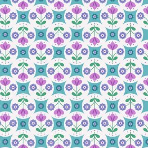 Fab floral circles on blue A438.2