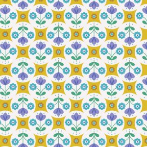 Fab floral circles on yellow A438.1