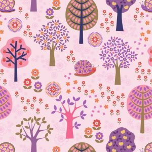 Groovy forest on pink A434.1